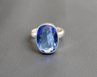 Size 8 - iolite Ring - 925 Sterling Silver Ring - iolite stone Ring -  Gift For her #EC-77