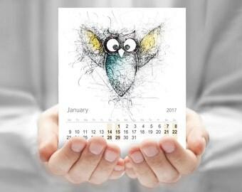 Calendar, Owl drawing, Desk calendar, CD calendar, Monthly calendar, Cute Owl calendar, Cute Kids calendar, Printable calendar DOWNLOAD