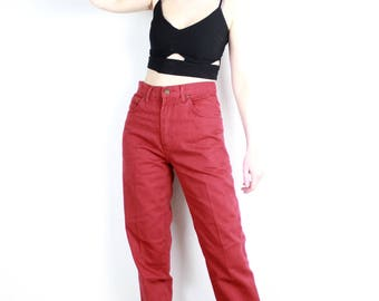 French Vintage 80s 90s Red Mom Jeans High Waisted Tapered Denim Peg Leg Pants Cigarette Boyfriend Trousers 1990s Hipster Festival / Small 36
