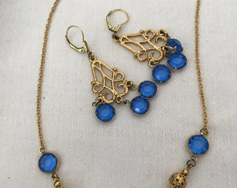 Vendome 1960's Chocker and Earrings Set  with Blue Sapphire Stones
