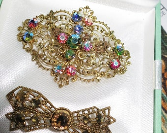 2 Lovely vintage 1940s  Art Deco Czech filigree rhinestone brooches