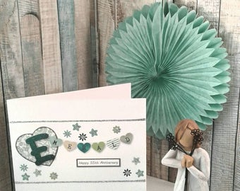 55th ANNIVERSARY/ EMERALD WEDDING Annuversary/ 55 years/ Greetings Card/ Anniversary Card/ Flowers/ Hearts / personalised
