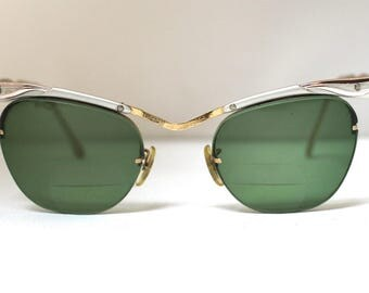 Bausch & Lomb Horn Rimmed Eyeglasses// Vintage 1950's 1960's //gold filled and alum/
