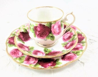 Vintage Royal Albert Old English Rose Tea Cup, Saucer, Dessert Plate