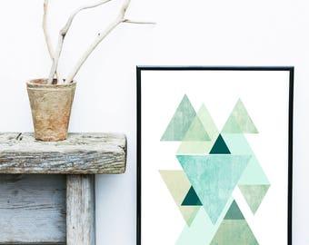 Blue Triangle Print, Geometric Wall Art, Scandinavian Print,  Abstract Art Print, Giclee print, Geometric Poster, Wall Decor, Home Decor