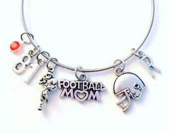 Stainless Steel Football Mom Bracelet, Foot Ball Charm Bangle Gift for Mother Birthday present Silver Helmet Ball Sports Jewelry initial