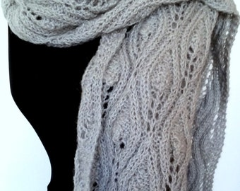 Women's scarf of mohair wool in grey hand knitted leaf pattern