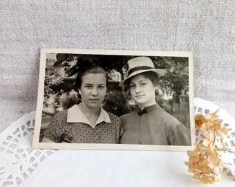 Soviet Vintage Snapshot Photo Two Girlfriends / Soviet Women USSR 50s / Old Vintage photo / Vintage Women Fashion / Soviet photo