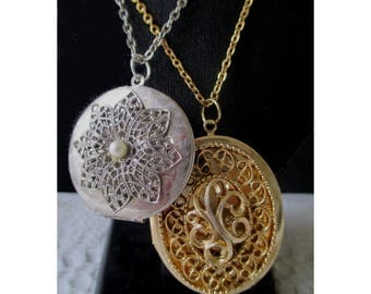 Photo Lockets * Silver Tone And Gold Tone * Filigree * Faux Pearl * Lot Of Two Lockets