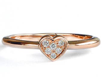 Rose gold engagement ring, promise ring for her, alternative engagement ring, rose gold band, diamond engagement ring, gold engagement ring