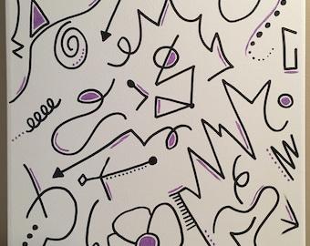 Purple & black, 12x16