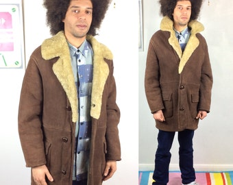 Men's SHEARLING Sheepskin Coat - Vintage 70s Dark Brown SUEDE Leather Real Fur Sherpa Lining and Collar Winter Overcoat - Large to XL