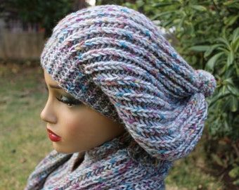 Gray Beanie and Scarf Slouchy Beanie Winter Hat for Women Oversized Beanie EXPRESS Shipping