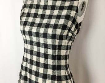 Vintage Woven Gingham Shift Dress || Handmade 60's Gingham Dress || Black and White Sleeveless Midi Dress