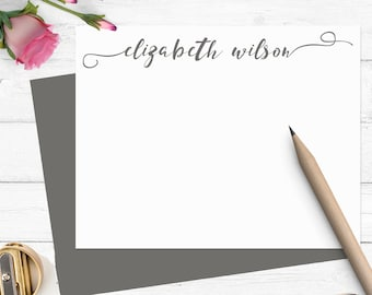 Personalized stationary set, Modern calligraphy stationery, flat note cards, custom notecards, thank you note cards,personalized gift,CS005