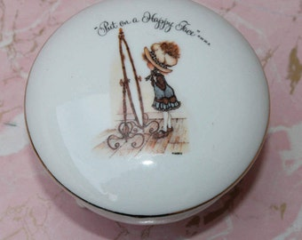 Vintage Holly Hobbie Porcelain Trinket Dish Jewelry Box Japan