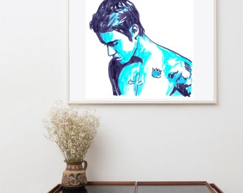 Justin Bieber art painting, Music Pop stars, Wall art, original illustration, gift idea, Justin Bieber Poster, art print, Wall hanging art