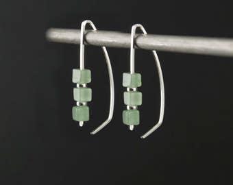 Sterling Silver Hoop Earrings,Green and Silver Earrings,Green Stone Earrings,Silver Open Hoops,Green Modern Hoop,Silver and Green Threaders