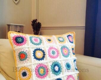 Made to order sunburst crochet granny square cushion