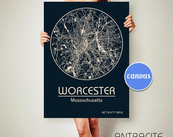 WORCESTER Massachusetts CANVAS Map Worcester Massachusetts Poster City Map Worcester Massachusetts Art Print Worcester Massachusetts