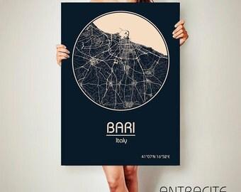 BARI Italy CANVAS Map Bari Italy Poster City Map Bari Italy Art Print Bari Italy poster Bari Italy map art Poster Bari Italy map