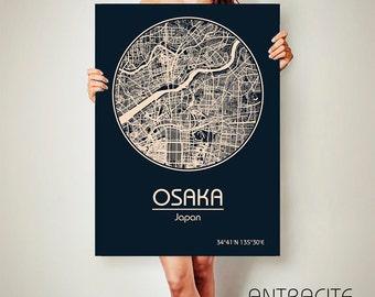 OSAKA Japan CANVAS Map Osaka Japan Poster City Map Osaka Japan Art Print Osaka Japan