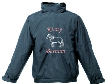 PERSONALISED PRINTED SHETLAND Pony Jacket Riding Waterproof Hood Regatta
