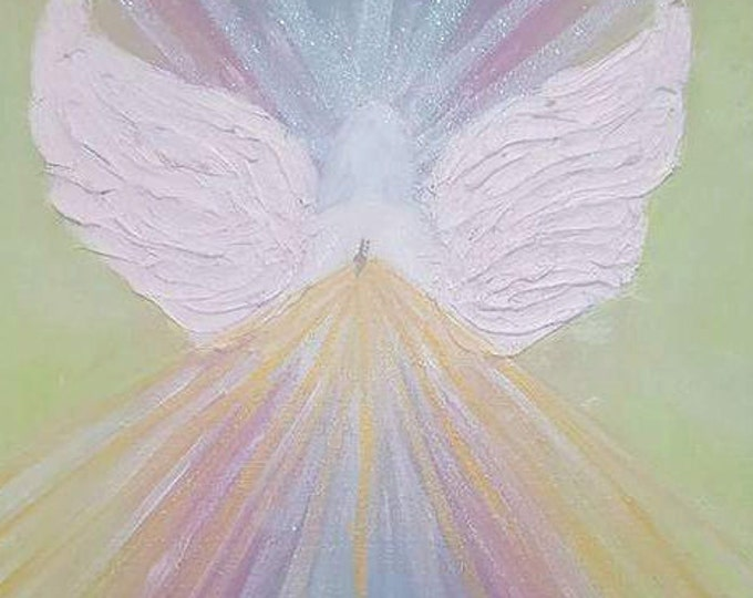 Angel of Blessings - sparkling angel, textured art Limited Edition Original Art, Abstract Hand Painted, Colorful, Reiki energized
