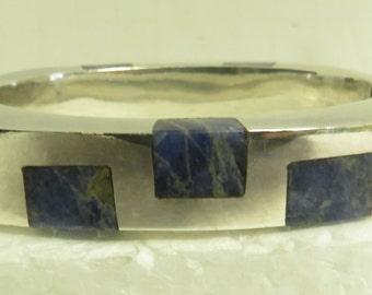 2 Vintage Stamped Sterling Silver Natural Lapis &  Green Stone Hinged Bracelets.