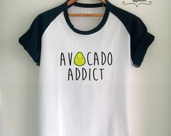 Vegan Shirt Vegan T Shirt Avocado Shirt Avocado Addict T Shirt Vegan Merch for Women Girls Men Tumblr Vegetarian Baseball Jersey Top Tee