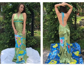 Sponge Bob Square Pants Dress Prom Wedding Alternative Wedding Mermaid Backless Party Dress Size Small