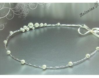 Hair wreath tiara with pearls wedding bridal tiara with pearls wedding bride