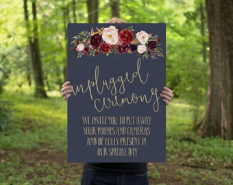 Wedding Unplugged Sign // Printable Wedding Event Sign // Wedding Printable // Navy Wedding // Digital Download // The Lucy Suite