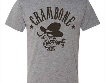 "Uncle Pecos ""CRAMBONE"" tshirt, Tom and Jerry tshirt, classic cartoon, cartoon network, gray shirt and black ink"