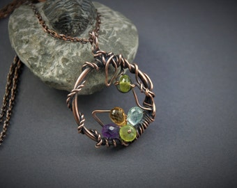 Wire wrapped copper pendant Garden of gems gift for her