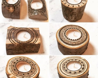 Woodburned log tea light holders *Boho**Rustic*