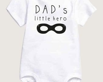 Sale Daddy Baby Onesie, Super Hero, New Baby Gift for Dad, Newborn Onesie Boy, Unique Funny Onesie, White Bodysuit, Black White Onesie