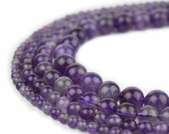 """Natural Amethyst Beads 4mm 6mm 8mm 10mm Polished Round 15.5"""" Full Strand Wholesale Gemstones"""