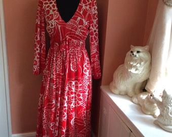 Vintage Maxi Dress, 60s Miss Elaine, Red & White Floral Marc Print (B212)