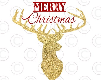 Reindeer, Deer Head Silhouette, Merry Christmas SVG, DXF, EPS, Christmas svg files, use with Silhouette Cameo and Cricut Explore