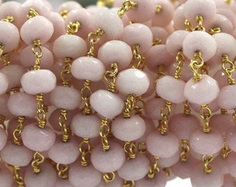 50% OFF SALE Faceted Rose Chalcedony  Wire Wrapped Beaded Chain 6-7mm, Rose Chalcedony  24k Gold Plated  Wire Wrapped Rosary Chain by foot