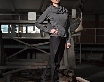 Shirt Grey Jersey Grau Drapery Scarf Pullover
