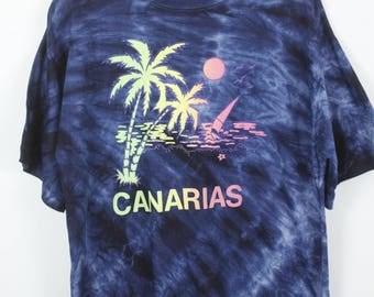 Vintage CANARIAS T-shirt blue batik tropical oversized