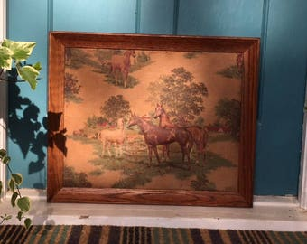 1940s Horse Barn Farm Scene Quilted 3D Fabric