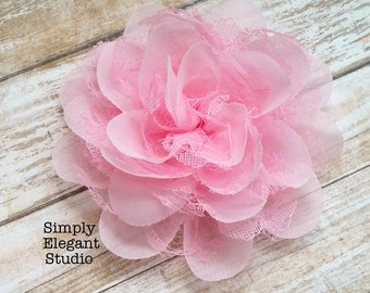 "PINK- Large Chiffon Lace Flowers, 4"" Fabric Flowers, Baby Headband Flowers, Flower Supply"