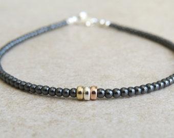 Hematite, Gold & Silver Bracelet