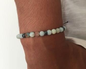 Men's bracelet was semi precious amazonite matte beads / hematite amazonite gemstone bracelet men / lesptitskdo