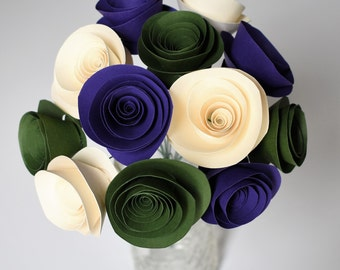 Forest Wedding, Forest Green, Purple, and Ivory Wedding Flowers, Paper Flowers with Stems