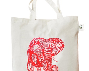 "Jute bag ""Indian Elephant"", fair trade, printing, red on nature"