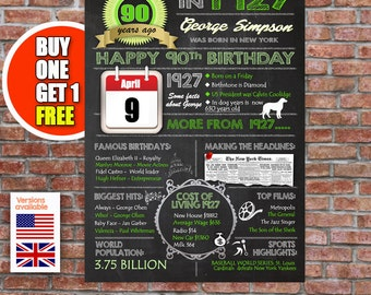 90th birthday gift, 90 years old, personalised 90th present, UK or USA birthday print